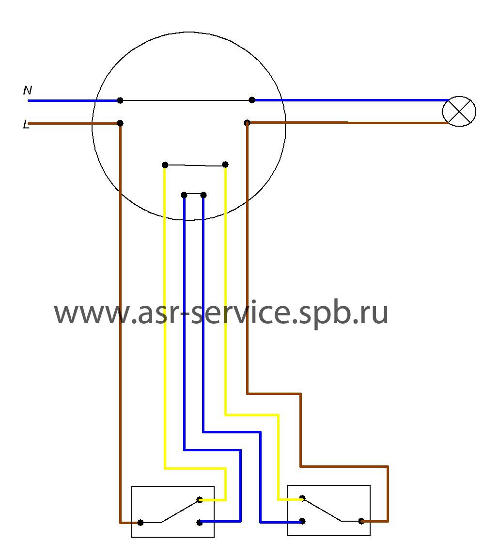 схема подключения светильника с проходным выключателем