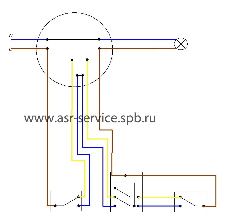 Проходной выключатель схема подключения с 3 местом
