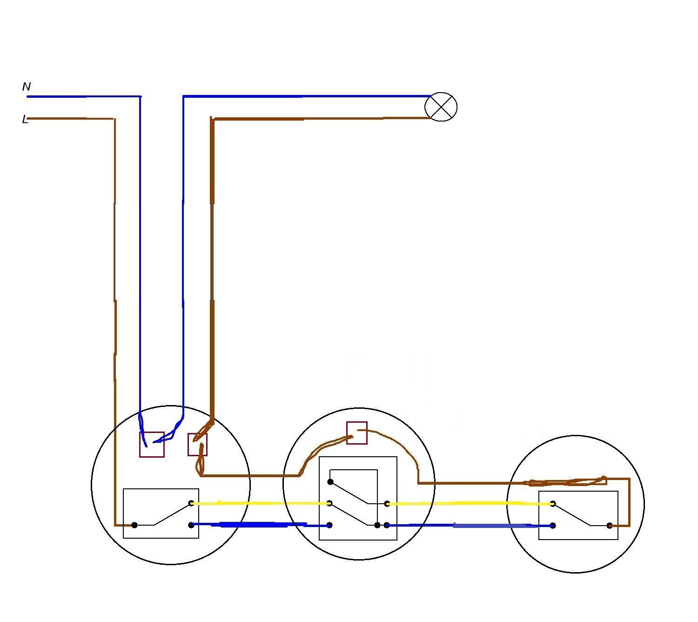 Схема включения проходного выключателя фото 586
