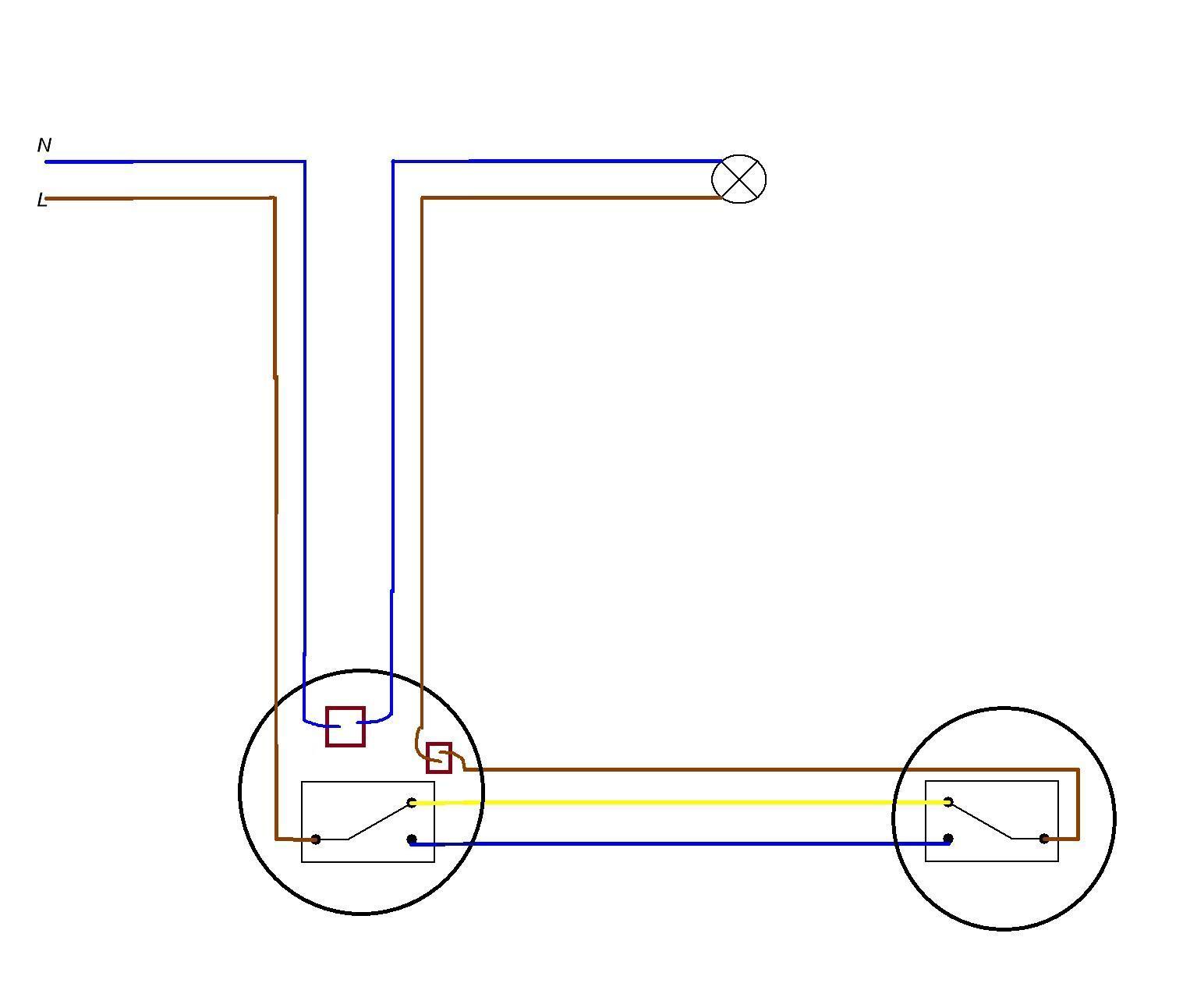 Схема переключателей с трёх мест